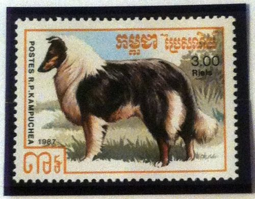 Cambodia stamp with standing collie